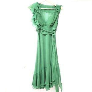 BCBGMaxAzria | Silk Ruffle Flutter Midi Dress